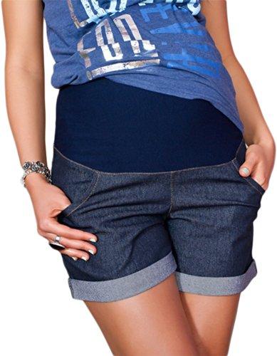 Mija - Kurze Jeans Umstandsshorts/Umstandshose mit Bauchband für Sommer 9037 (38, Dunkelblau)