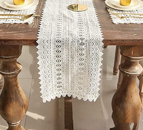 Camino de mesa macramé con gancho de encaje y flores, con borla de algodón puro, para comedor, mesa de café, fiesta, boda, Acción de Gracias, blanco, 25 cm x 180 cm