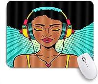 ZOMOY マウスパッド 個性的 おしゃれ 柔軟 かわいい ゴム製裏面 ゲーミングマウスパッド PC ノートパソコン オフィス用 デスクマット 滑り止め 耐久性が良い おもしろいパターン (アフロアフリカ系アメリカ人黒人女性ヒップホップアートイエローアイシャドウ聞く音楽女の子ヘッドフォン)
