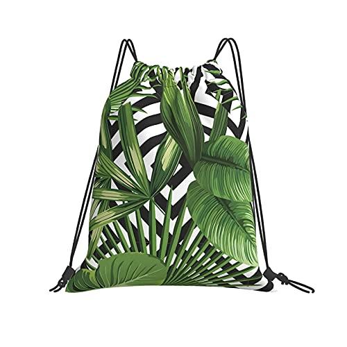 Dhxeqok Mochila con cordón Deportes Sackpack Planta exótica de la selva de verano, hojas de palmera tropical en el resistente geométrico plegable para deporte, gimnasio, playa, yoga, viajes