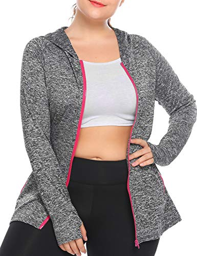 Womens Running Jackets Plus Size Lightweight Full Zip Up Track Workout Yoga Athletic Hooded Hoodie with Pockets