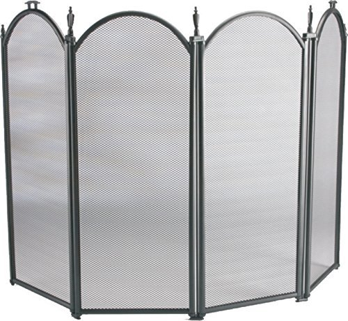 Vintage Fire Screen Spark Guard Square Black Fireplace Safety Victorian Fireguard Hearth Guard Nursery (Black 4 Panel)