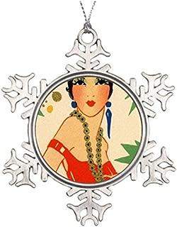 Athena Bacon Tree Branch Decoration Art Deco Vamp 1920s Flapper Snowflake Ornaments Tree Decor for Christmas