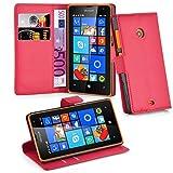 Cadorabo - Book Style Hülle für > Nokia Lumia 435 < - Hülle Cover Schutzhülle Etui Tasche mit Standfunktion & Kartenfach in Karmin-ROT