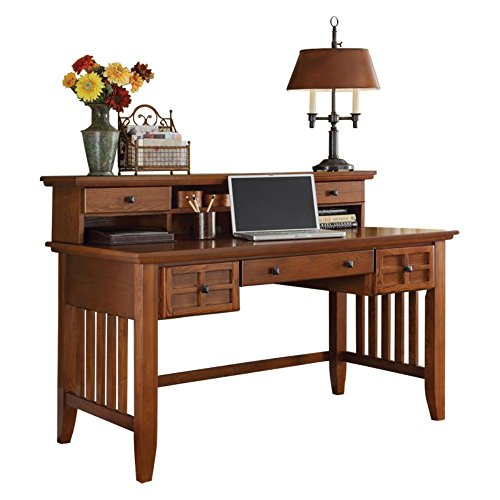 Home Styles Arts and Crafts Cottage Oak Executive Desk and Hutch with Oak Hardwood Construction, Cottage Oak Finish, Lattice Moldings, Two Drawers, Center Drawer Keyboard Tray, and Hutch