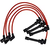 94-01 7mm High Performance Engine SPARK PLUG WIRES Wire Set Replacement for Honda Acura Integra Type-R GSR B18 DOHC VTEC (Red)