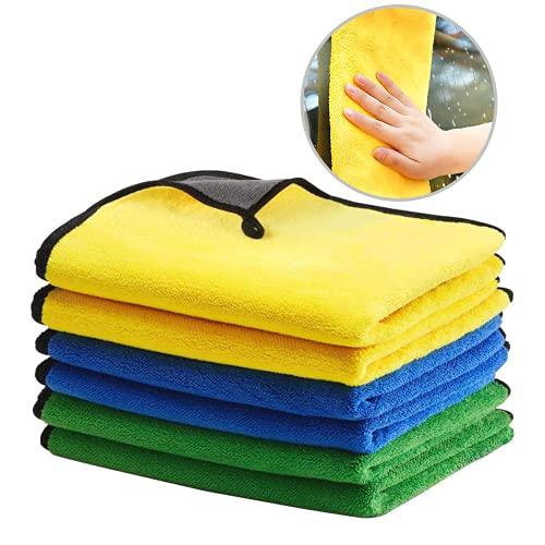 6 Microfasertuch Autopflege, Sanft Car Wash Towel, Super Saugfähiges Mikrofasertücher, Microfaser Tuch Auto für Polieren Waschen Trocken Staubwischen und Pflegen, 40 x 40 cm,30 x 30 cm (6 Stücke)