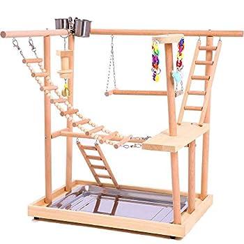 Li-HIM Nid Perchoir Play Stand Gym/Parc De Jeu Interactif Parrot, Échelles d'escalade en Bois de Pont Tournant de Plate-Forme de Perchoir D'oiseau pour Petits Animaux Perroquet Perroquet