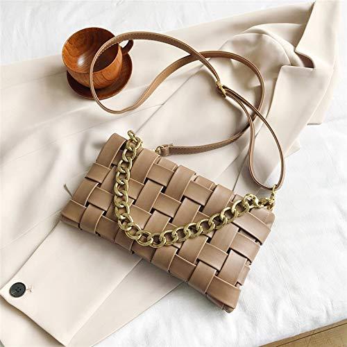 YJZZ Bolso de Hombro PU Cuero Messenger Bag Femenino Color sólido Bolsa de Hombro Cadena Messenger Bag French Bag Bolsa (Color : Khaki)