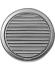 Roestvrij stalen ventilatierooster - afvoerrooster - rond - met flens/buisaansluiting en bescherming tegen insecten Dekmaat: 180 mm (VM-150-N)