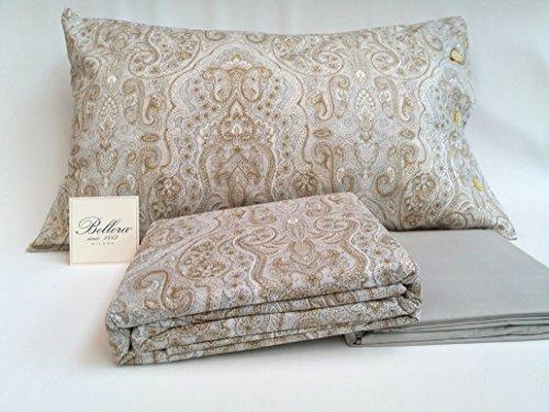 Bellora Bettwäsche-Set für Doppelbett, Perkal aus reiner Baumwolle: Oberlaken 255 x 280 + Unterteil 180 x 200 + 2 Kissenbezüge 50 x 80 Sandfarben