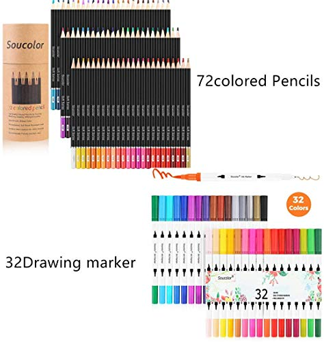 Soucolor 32 Dual Tip Brush Markers Pens & 72-Color Colored Pencils, for Journaling Hand Lettering Adult Coloring Book Note Taking Writing Drawing Crafting Projects.