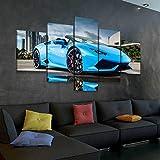 45Tdfc Lienzo en Cuadro Abstracto Moderno200x100cm Impresión Blue Lamborghi Supercar 5 Piezas Material Tejido no Tejido Impresión Artística Imagen Gráfica Decoracion de Pared Arte
