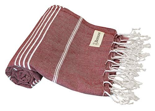 Bersuse 100% Cotton - Anatolia Turkish Towel - Bath Beach Fouta Peshtemal - Classic Striped Pestemal - 37X70 Inches, Burgundy