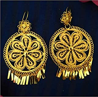 Mexican Earrings for Women, Traditional Oaxaca Circle Filigree Gold Jewelry