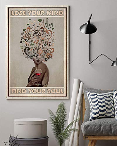 Lose Your Mind find Your Soul Canvas Wall Art Music And Wine Vintage Retro Art Picture Love Music and Wine Canvas Poster Lose Your Mind Find Your Soul Music Poster for Home Wall Decor Unframed
