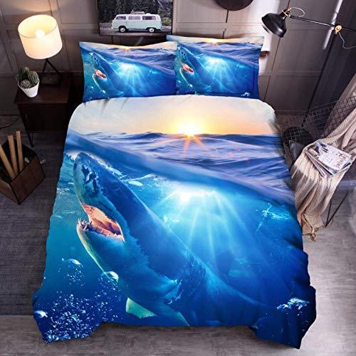 Juego De Ropa De Cama Tiburón Azul Funda De Edredón 260 x 240 cm,Microfibra Funda nórdica Muy Suave Hipoalergénica Transpirabl,para niños y Adolescentes niños y niñas