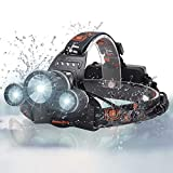 BORUIT 3X XM-L2 T6 LED Beads 5000 Lumens Headlamp 4 Modes with Rechargeable Batteries,Wall & Car Charger,USB Charging Cable for Camping,Hiking,Reading,Bike,Hunting&Fishing Lighting