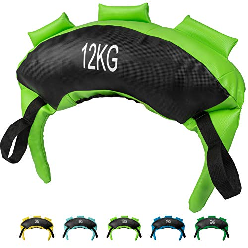 POWRX Bulgarien Gewichts Bag I 5 kg 8 kg 12 kg 17 kg 22 kg I Kunstleder Sandsack für Functional Fitness (12 kg Schwarz/Hellgrün)
