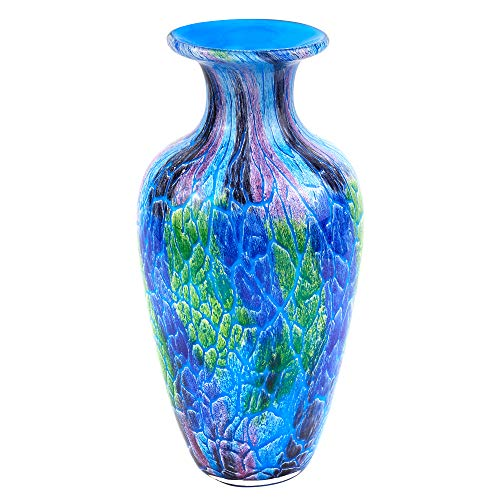 """Cool Firestorm Colorful Murano Style Mouth Blown Art Glass 10"""" Vase"""