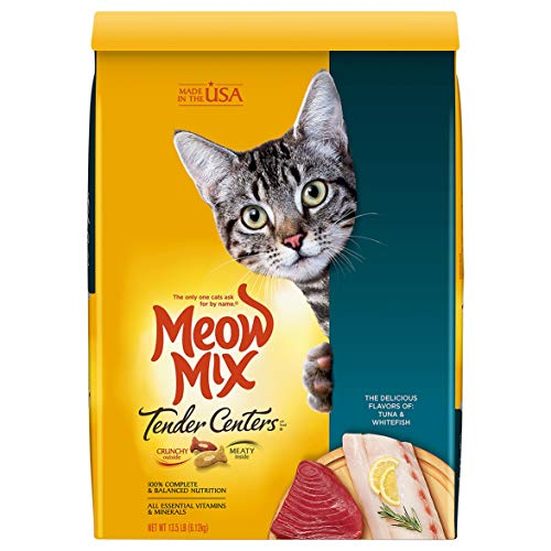 Meow Mix Tender Centers Dry Cat Food, Tuna & Whitefish Flavors, 13.5 Pounds