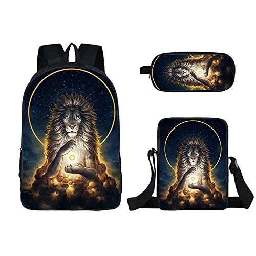 Kinderrucksack - Löwe 3d gedruckt Schultasche Set Set Nette Kinder Rucksack und beleidigte Lunchbox Pen Fall Multifunktions 3 in 1 (Color : 03)