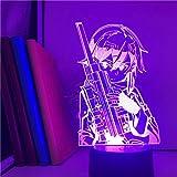 Luces de Navidad arte en línea asada Shinono Bluetooth Control Base 3D linterna espada japonesa anime luz dormitorio nave energía anime 3D ERJIE