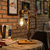 Pipe Desk Lamp,Vintage Kettle Style Table Light Industrial Iron Pipe Desk Table Lamp Night Light (Square Base)