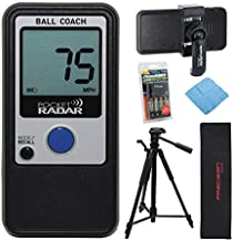 Pocket Radar Ball Coach/Pro-Level Speed Training Tool and Radar Gun with 57-Inch Tripod, Pocket-Sized Spring Tripod Mount, Battery Charger Pack and Cleaning Cloth Bundle (5 Items)