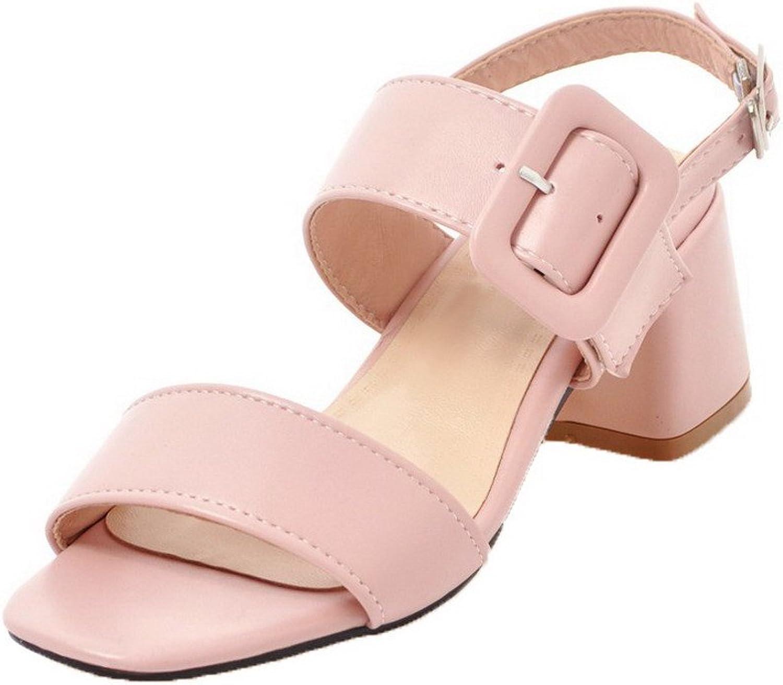 WeenFashion Women's Kitten-Heels Solid Buckle Pu Open-Toe Sandals, AMGLX009825