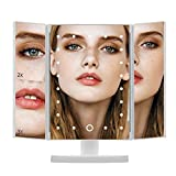 DIOZO Makeup Mirror, 21pcs LED Lighted Vanity Mirror Tri-fold 1X2X3X Magnification Cosmetic Mirror