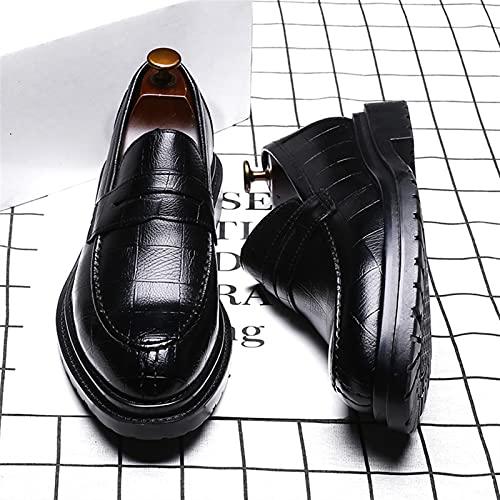 LINGYANMM Zapatos formales de vestir Oxford para hombre, comodidad de piel sintética, suela de goma, antideslizante, resistente al agua, moderno (color: negro, tamaño: 43EU)