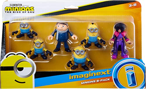 ​Minions: The Rise of Gru Fisher-Price Imaginext Figure Pack, set of 6 film character figures for preschool kids ages 3-8 years