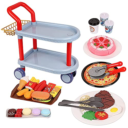 BINGGOO Food Cart Toy Set, Large Dining Car Toys with 81pcs Food, Kids Pretend Role Play Food Kitchen Playset, Tableware Accessories, Learning Educational Toys for 3 4 5 Years Old Boy Girl