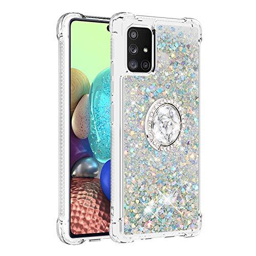 Hülle für Samsung Galaxy A71 5G Diamant Ring Flüssig Treibsand Silikon TPU Bumper Hülle für Samsung Galaxy A71 5G(Silber)