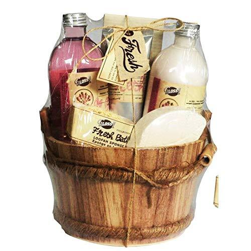 Coffret cadeau pour femme - Sceau de bain en bois - Collection Fresh Bath - Grenade