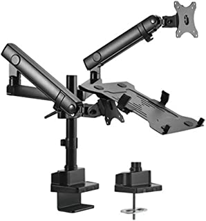"""Brateck Aluminum Pole Mount Mechanical Spring Monitor with Laptop Holder Fit Most 17""""-32"""" Monitors Up to 8kg Laptop Up to ..."""
