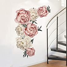 Aukeoss Peony Flowers Wall Sticker Waterproof PVC Wall Decals for Living Room Bedroom Kitchen Playroom Nursery Room(28.2