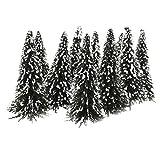 10 Stück dunkelgrüne Landschaft Landschaftsmodell Zedernbäume (12cm, Weiß Dunkelgrün) -