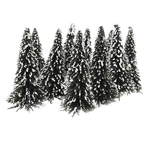 10 Stück dunkelgrüne Landschaft Landschaftsmodell Zedernbäume (12cm, Weiß Dunkelgrün)
