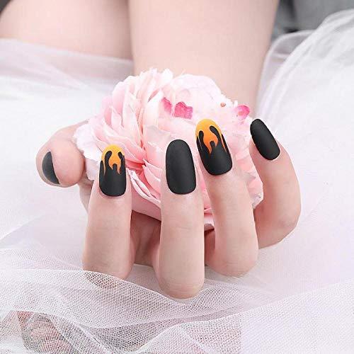 Faux ongles 24 pièces faux ongles noir mat conception manucure charmes ongles acrylique faux feu flamme presse sur les ongles pour fille