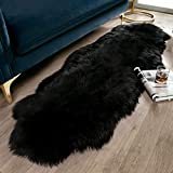 Ashler Soft Faux Sheepskin Fur Rug Fluffy Rugs Chair Couch Cover Black Area Rug for Bedroom Floor Sofa Living Room 2 x 6 Feet