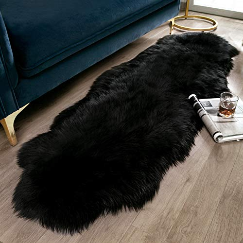 Ashler Soft Faux Sheepskin Fur Chair Couch Cover Black Area Rug for Bedroom Floor Sofa Living Room 2 x 6 Feet