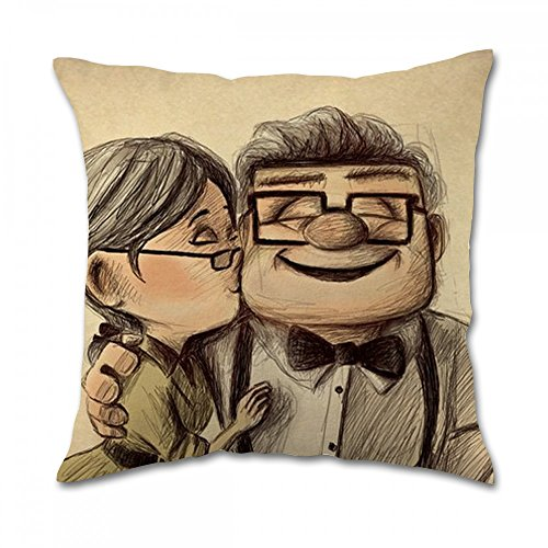 Carl and Ellie up Love Story Pillow Covers (18x18 inch twin side)