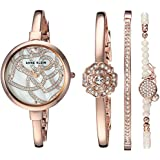 Anne Klein Women's AK/3080RGST Swarovski Crystal Accented Rose Gold-Tone Bangle Watch and Bracelet Set