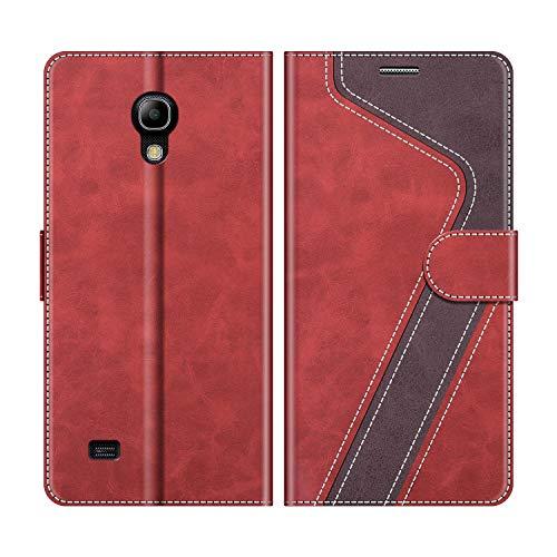 MOBESV Handyhülle für Samsung Galaxy S4 Mini Hülle Leder, Samsung Galaxy S4 Mini Klapphülle Handytasche Case für Samsung Galaxy S4 Mini Handy Hüllen, Modisch Rot