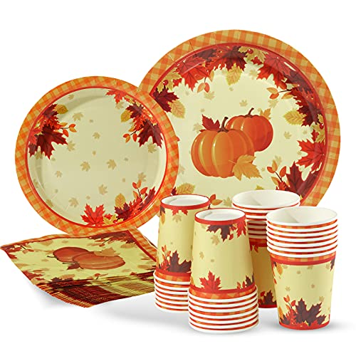 Fall Leaves Plates Napkins and Cups Set Serves 30 Guests, Autumn Leaves Pumpkin Disposable Paper Dinnerware Set for Fall Thanksgiving Dinner Party Decorations