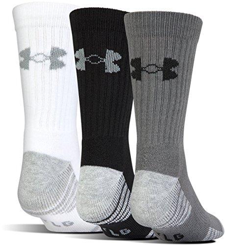 Under Armour Heatgear Tech Crew Socks, 3-Pairs, Graphite Assortment, Shoe Size: Mens 8-12, Womens 9-12