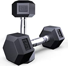 Dumbbells, 5kg Hex Rubber Weights Workout Dumbbells Set Metal Ergonomic Handles Prevent Rolling and Injury for Home Gym Exercise Men Women Unisex