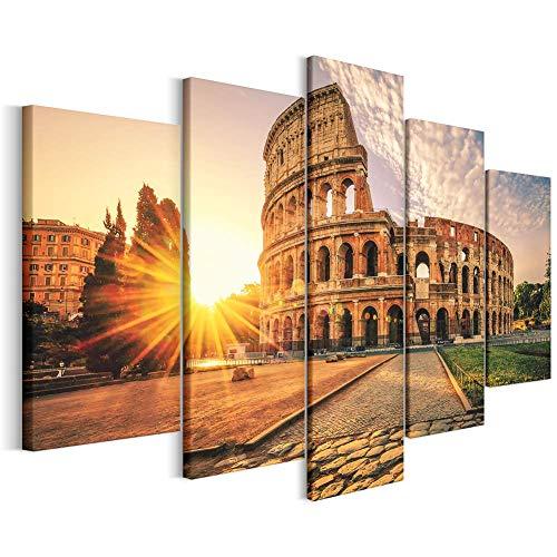 Revolio - Cuadro en Lienzo - impresión artística - 5 Partes - Decoracion de Pared - XXL - Tipo A - Tamaño: 250 x 120 cm - Roma el Coliseo Naranja